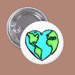 Heart Earth 1 Inch Round Button