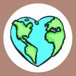 Heart Earth Classic Round Sticker