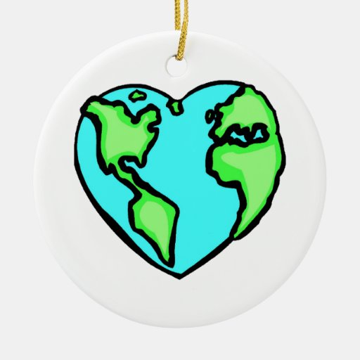 Heart Earth Double-Sided Ceramic Round Christmas Ornament