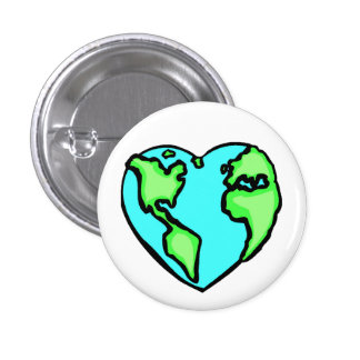 Heart Earth Pinback Button