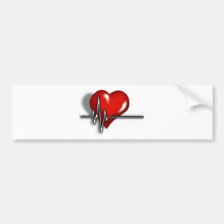 Heart ECG Bumper Sticker