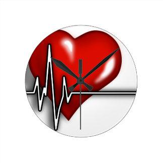 Heart ECG Round Clock