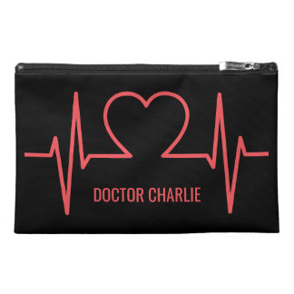 Heart EKG custom name & occupation accessory bags