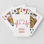 """Heart EKG custom name &amp; occupation playing cards<br><div class=""""desc"""">See my store for more items with this design.</div>"""