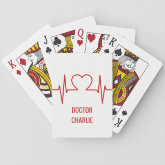 Heart EKG custom name & occupation playing cards
