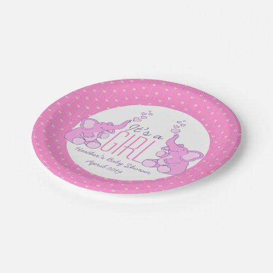 Girls Elephant Baby Shower Paper Plates Zazzle