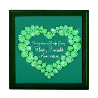 Heart emerald wedding anniversary wife gift box