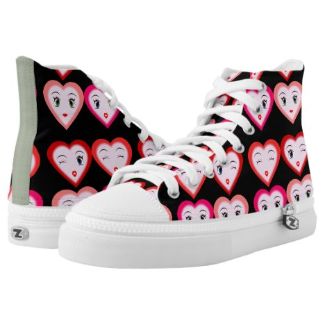 Heart Emoji Emoticons Fashion High-Top Sneakers