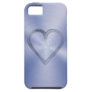Heart engraved in cobalt blue steel plate iPhone 5 covers