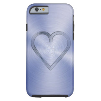 Heart engraved in cobalt blue steel plate tough iPhone 6 case