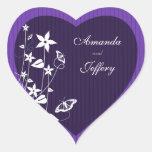 Heart Envelope Seal | Purple Flower Butterfly Heart Sticker