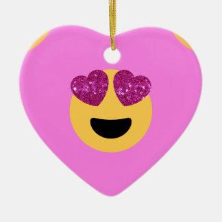 heart eye emoji ceramic ornament