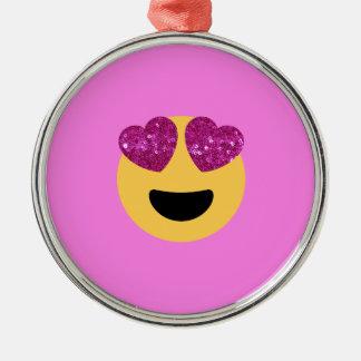heart eye emoji metal ornament