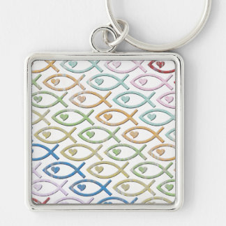 HEART-EYED JESUS FISH KEYCHAIN