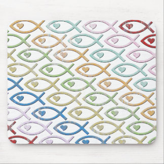 HEART-EYED JESUS FISH MOUSE PAD