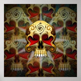 Heart Eyed Skull Poster
