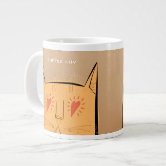 Heart eyes coffee luv cat giant coffee mug