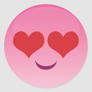 Heart Eyes Emoji Classic Round Sticker