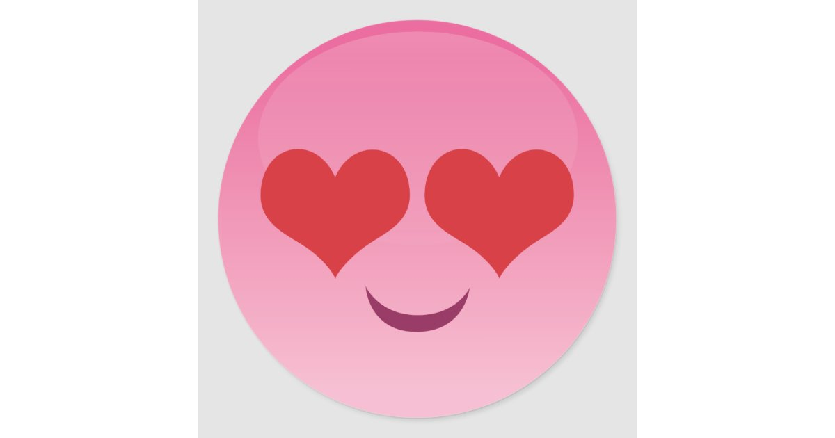 Heart Eyes Emoji Classic Round Sticker Zazzle