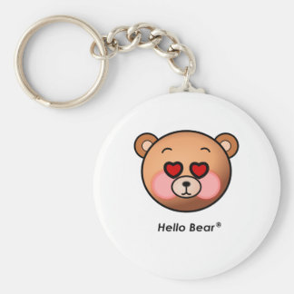Heart eyes Hello Bear Basic Round Button Keychain