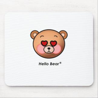 Heart eyes Hello Bear Mouse Pads