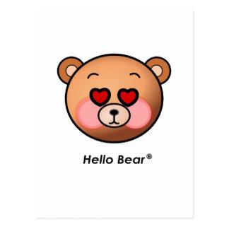 Heart eyes Hello Bear Postcard