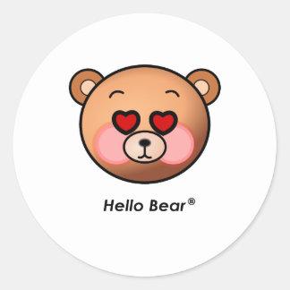 Heart eyes Hello Bear Stickers