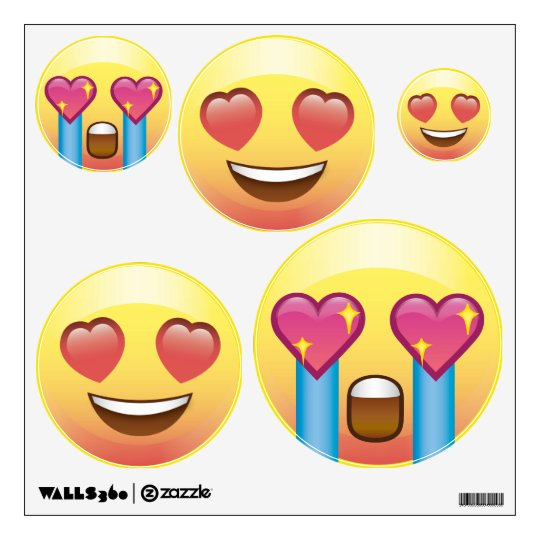 Heart Eyes Love Fangirl Emoji Faces Wall Decals Zazzlecom - Emoji wall decals