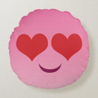 Heart eyes pink emoji round pillow