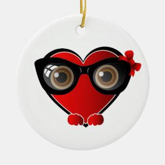 Heart Face Happy Emoticon Ceramic Ornament