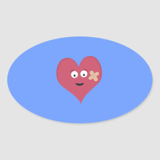 Heart face with patch oval sticker
