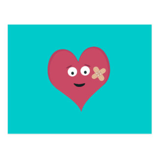 Heart face with patch postcard