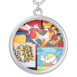 Heart Facebook Dove art painting Necklace