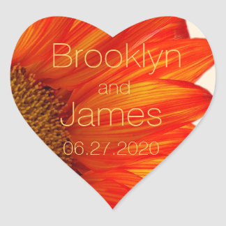 Heart Fall Wedding Stickers Sunflower