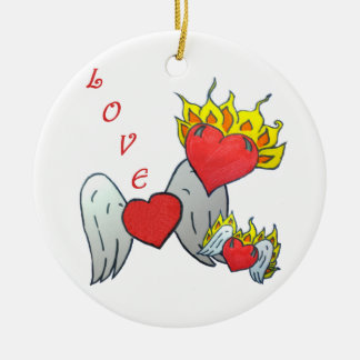 Heart Family Ceramic Ornament