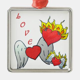 Heart Family Metal Ornament