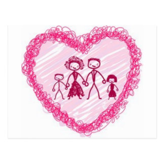 heart  family postcard