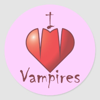 Heart Fangs: I Love Vampires Classic Round Sticker