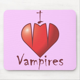 Heart Fangs: I Love Vampires Mouse Pad
