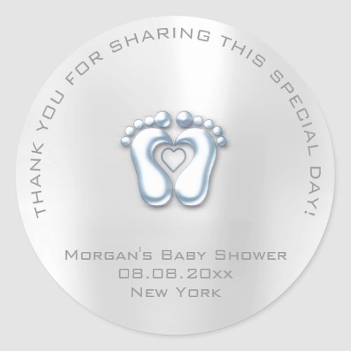 Heart Feet Baby Shower Favor Boy Thank Gray Blue Classic Round Sticker
