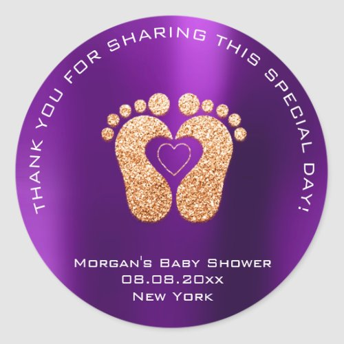 Heart Feet Baby Shower Favor Gift Thank Gold Viole Classic Round Sticker