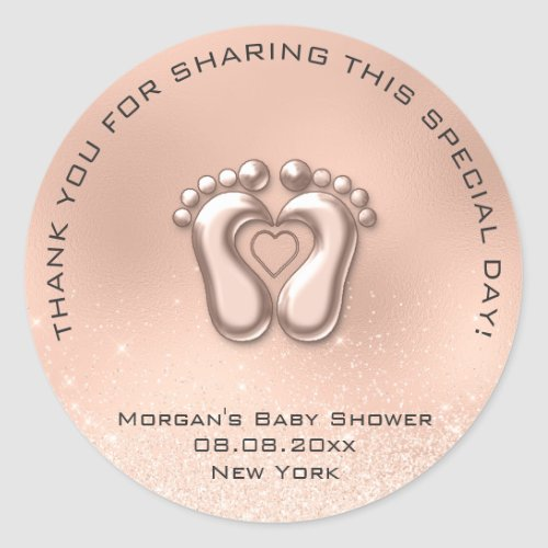 Heart Feet Baby Shower Favor Gift Thank Gray Spark Classic Round Sticker