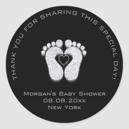 Heart Feet Baby Shower Favor Girl Thank Gray Black Classic Round Sticker