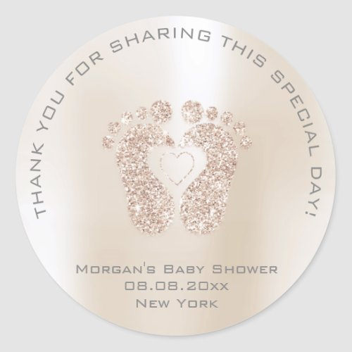 Heart Feet Baby Shower Favor Girl Thank Gray Ivory Classic Round Sticker
