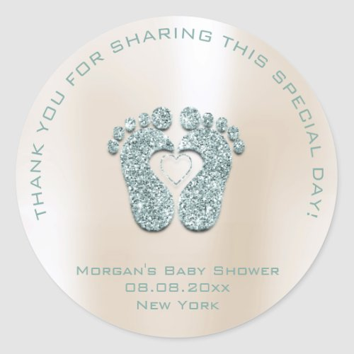 Heart Feet Baby Shower Favor Girl Thank Mint Ivory Classic Round Sticker