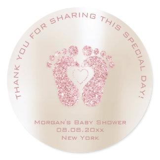 Heart Feet Baby Shower Favor Girl Thank Pink Ivory Classic Round Sticker