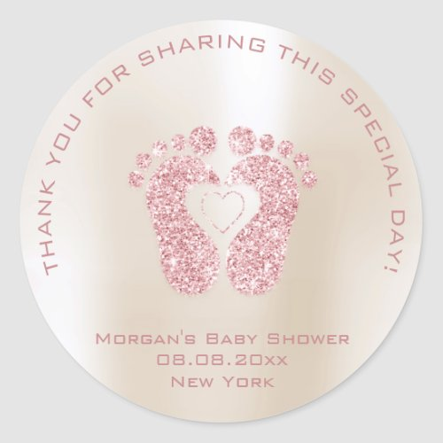 Heart Feet Baby Shower Favor Girl Thank Pink Ivory Classic Round Sticker