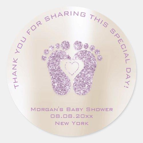 Heart Feet Baby Shower Favor Girl Thank Plum Ivory Classic Round Sticker