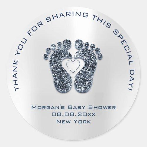 Heart Feet Baby Shower Favor Thank Blue Navy Classic Round Sticker