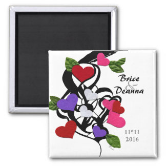 Heart Felt Save The Date 2 Inch Square Magnet